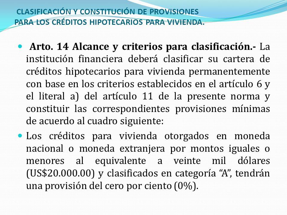CLASIFICACIÓN Y CONSTITUCIÓN DE PROVISIONES PARA LOS CRÉDITOS HIPOTECARIOS PARA VIVIENDA.