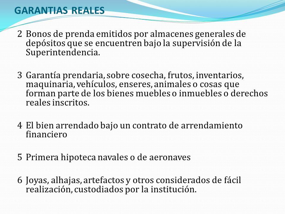 GARANTIAS REALES 2 Bonos de prenda emitidos por almacenes generales de depósitos que se encuentren bajo la supervisión de la Superintendencia.