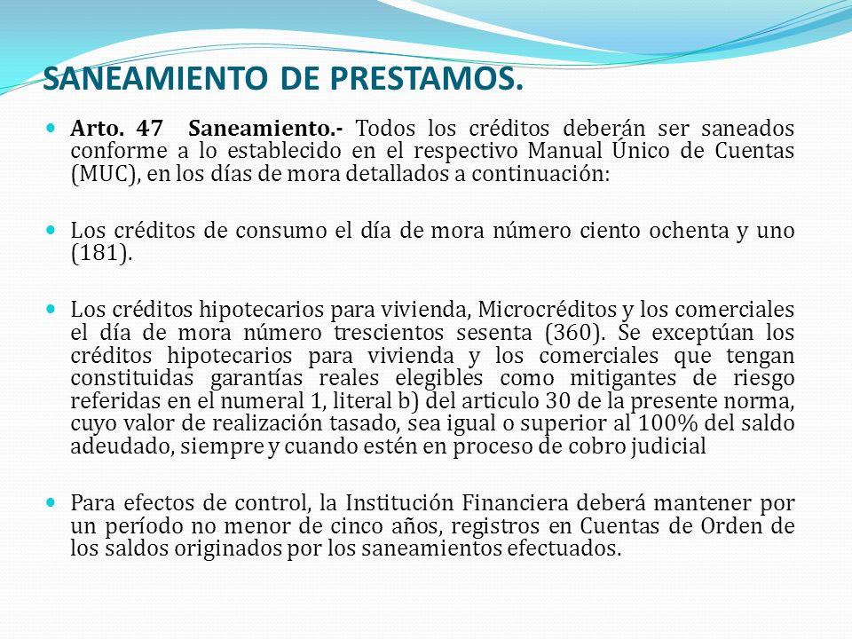 SANEAMIENTO DE PRESTAMOS.