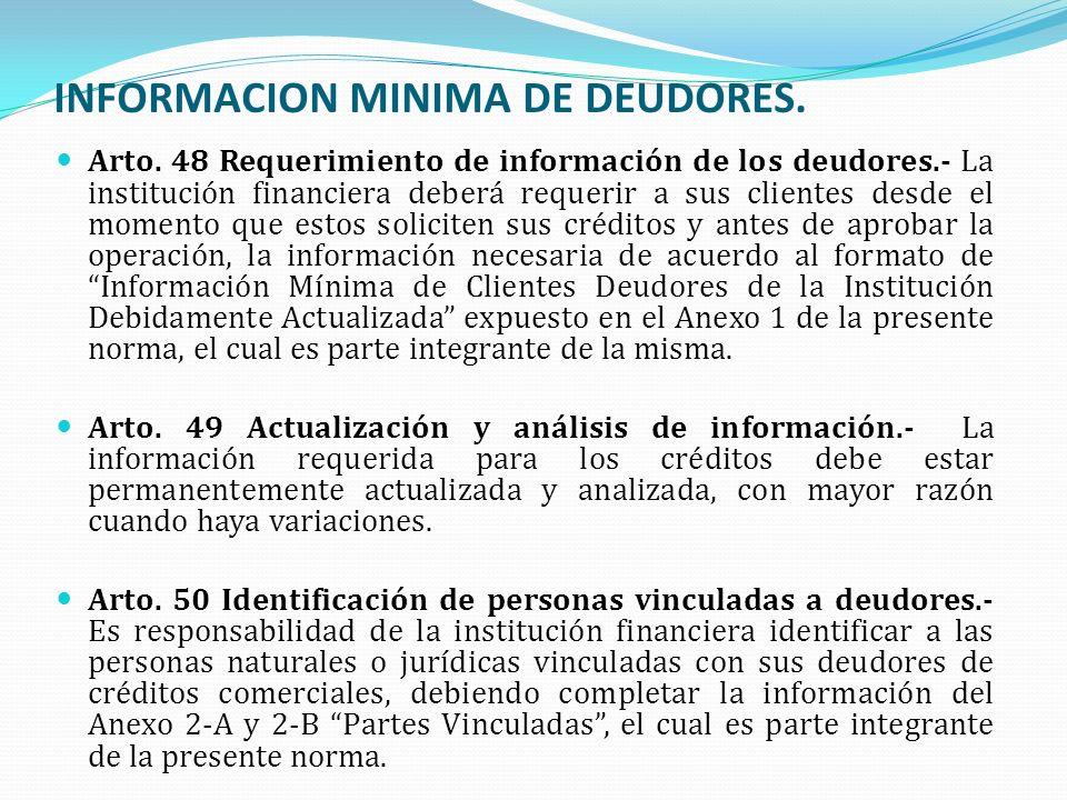 INFORMACION MINIMA DE DEUDORES.