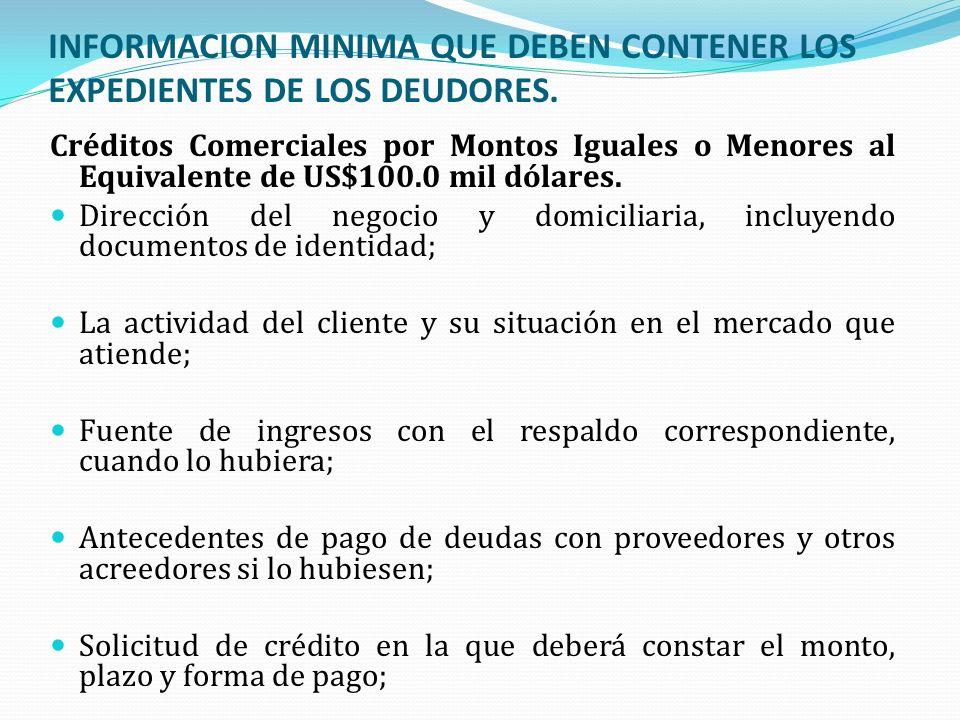INFORMACION MINIMA QUE DEBEN CONTENER LOS EXPEDIENTES DE LOS DEUDORES.