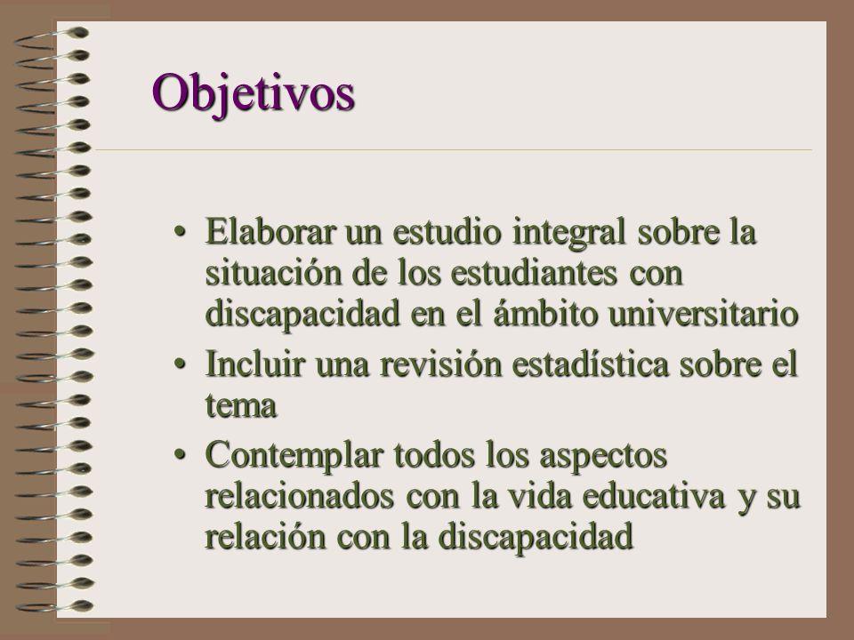 Objetivos Elaborar un estudio integral sobre la situación de los estudiantes con discapacidad en el ámbito universitario.