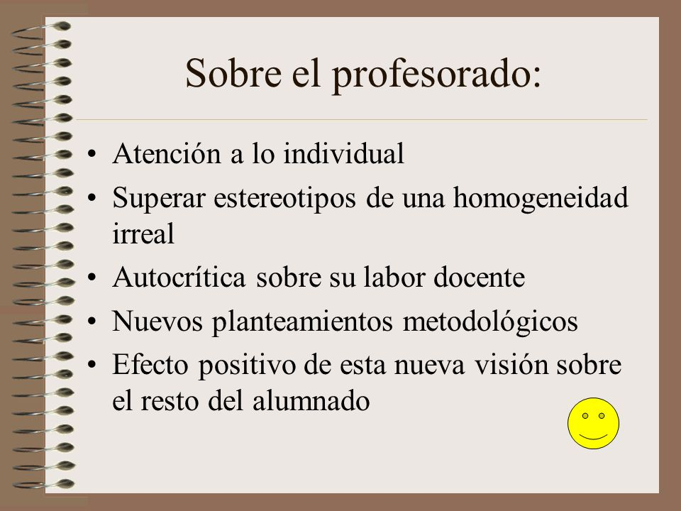Sobre el profesorado: Atención a lo individual