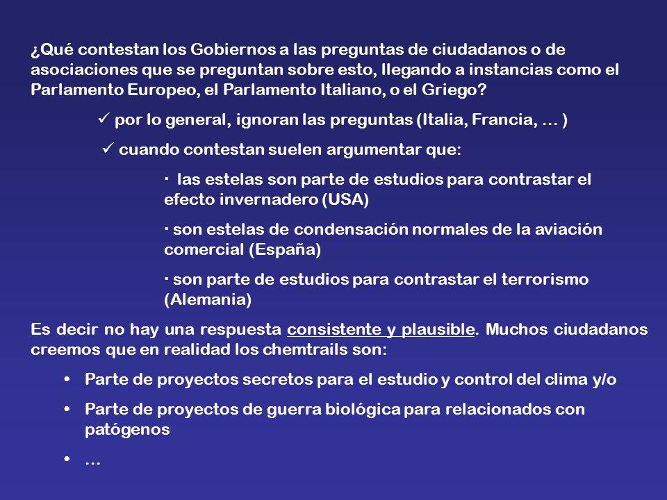¿Qué contestan los Gobiernos a las preguntas de ciudadanos o de asociaciones que se preguntan sobre esto, llegando a instancias como el Parlamento Europeo, el Parlamento Italiano, o el Griego