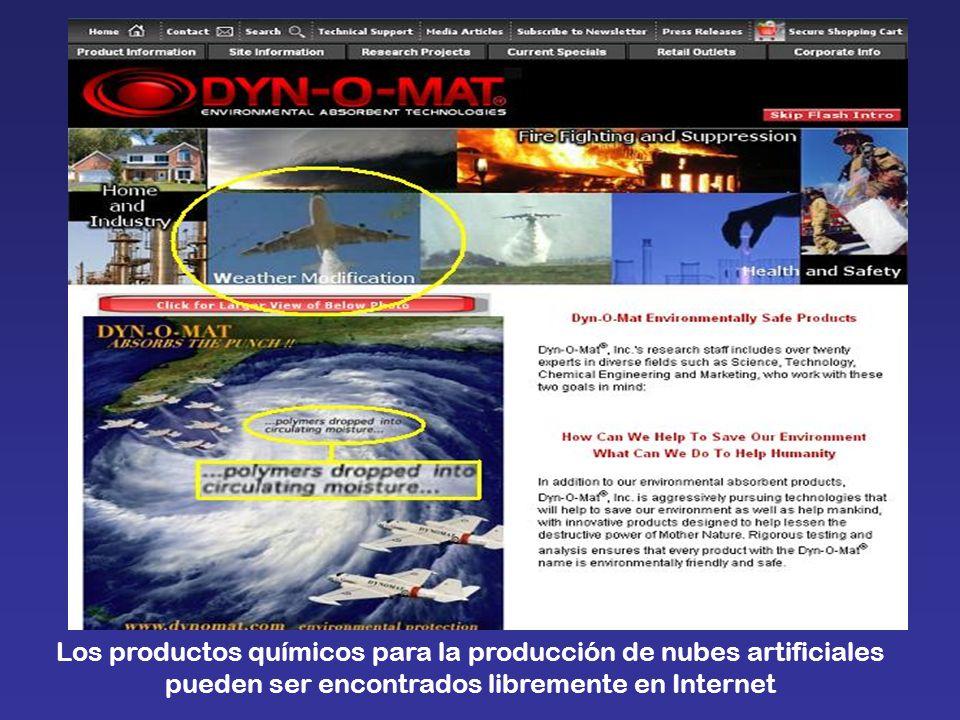 Los productos químicos para la producción de nubes artificiales pueden ser encontrados libremente en Internet