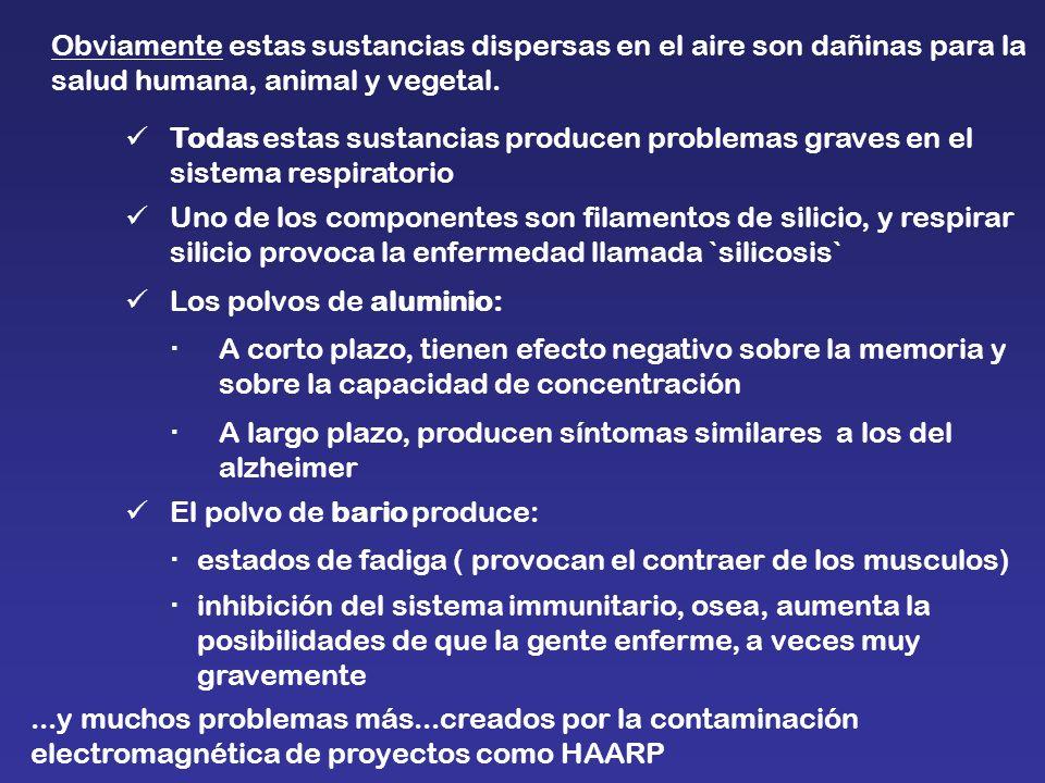 Obviamente estas sustancias dispersas en el aire son dañinas para la salud humana, animal y vegetal.
