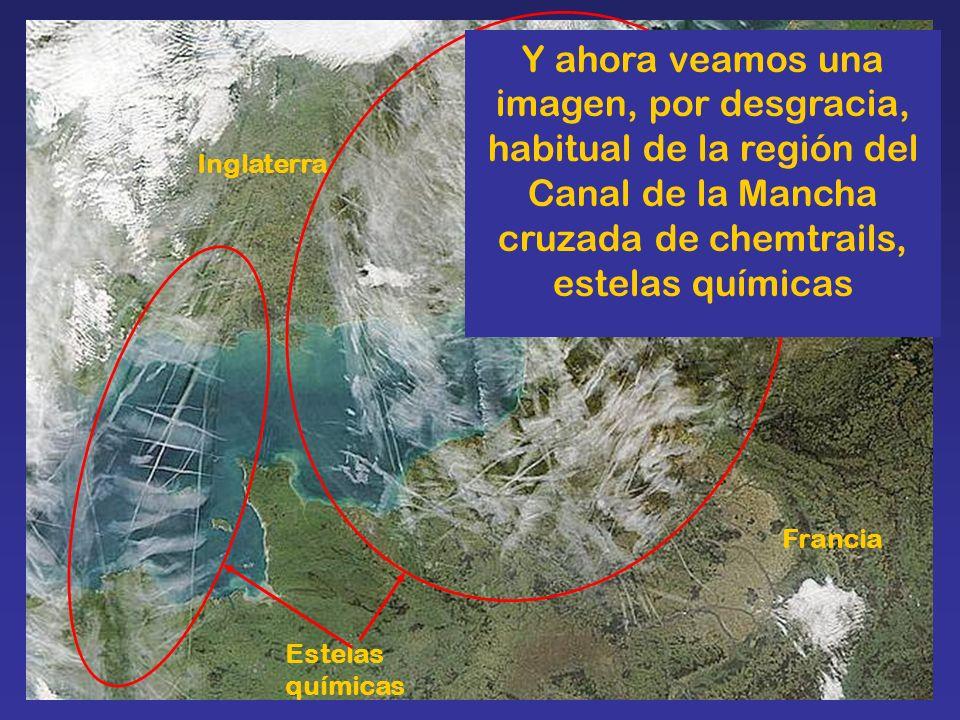 Y ahora veamos una imagen, por desgracia, habitual de la región del Canal de la Mancha cruzada de chemtrails, estelas químicas