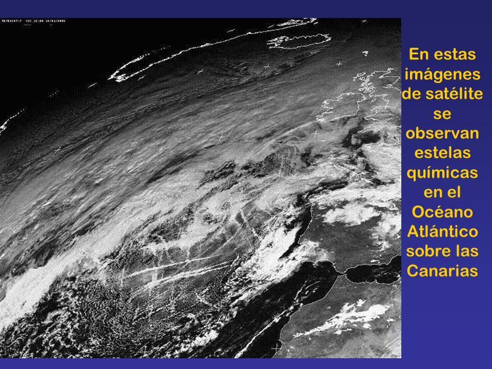 En estas imágenes de satélite se observan estelas químicas en el Océano Atlántico sobre las Canarias