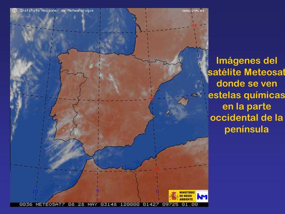 Imágenes del satélite Meteosat donde se ven estelas químicas en la parte occidental de la península