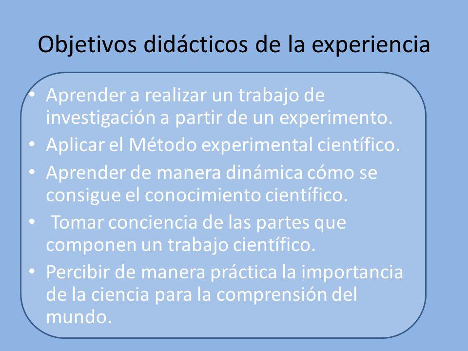 Objetivos didácticos de la experiencia
