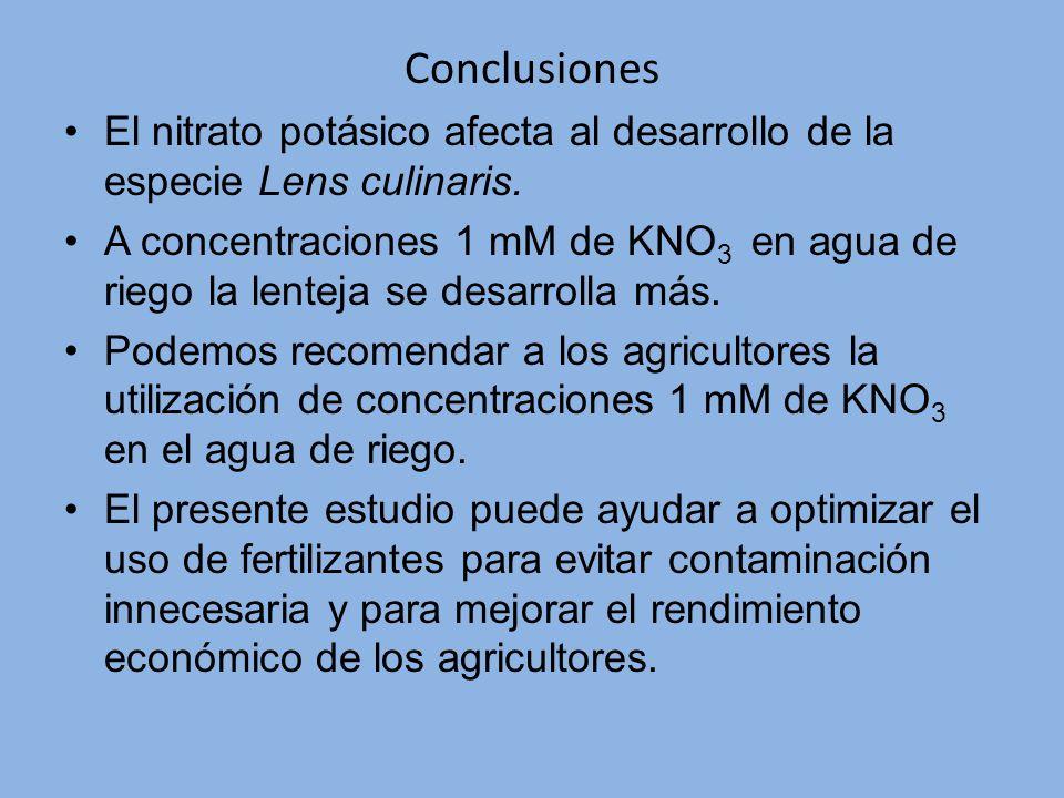 Conclusiones El nitrato potásico afecta al desarrollo de la especie Lens culinaris.