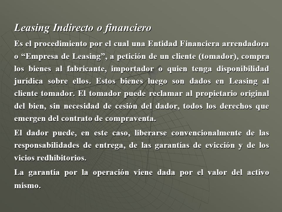 Leasing Indirecto o financiero