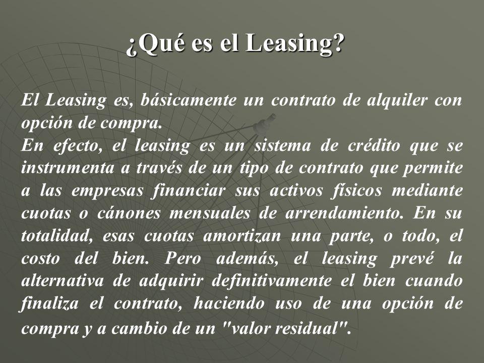 ¿Qué es el Leasing El Leasing es, básicamente un contrato de alquiler con opción de compra.