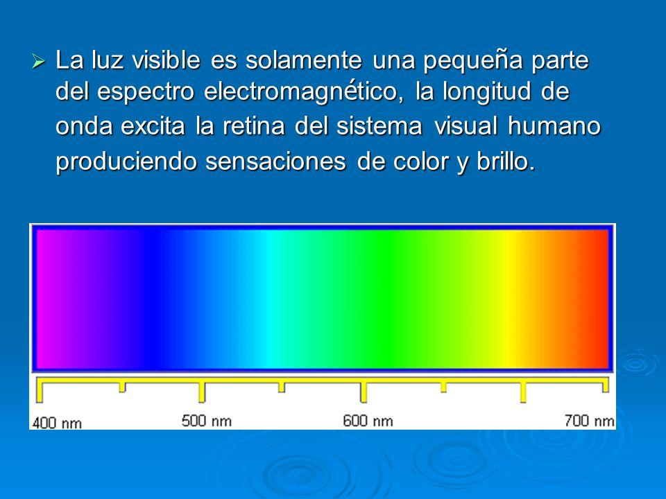La luz visible es solamente una pequeña parte del espectro electromagnético, la longitud de onda excita la retina del sistema visual humano produciendo sensaciones de color y brillo.