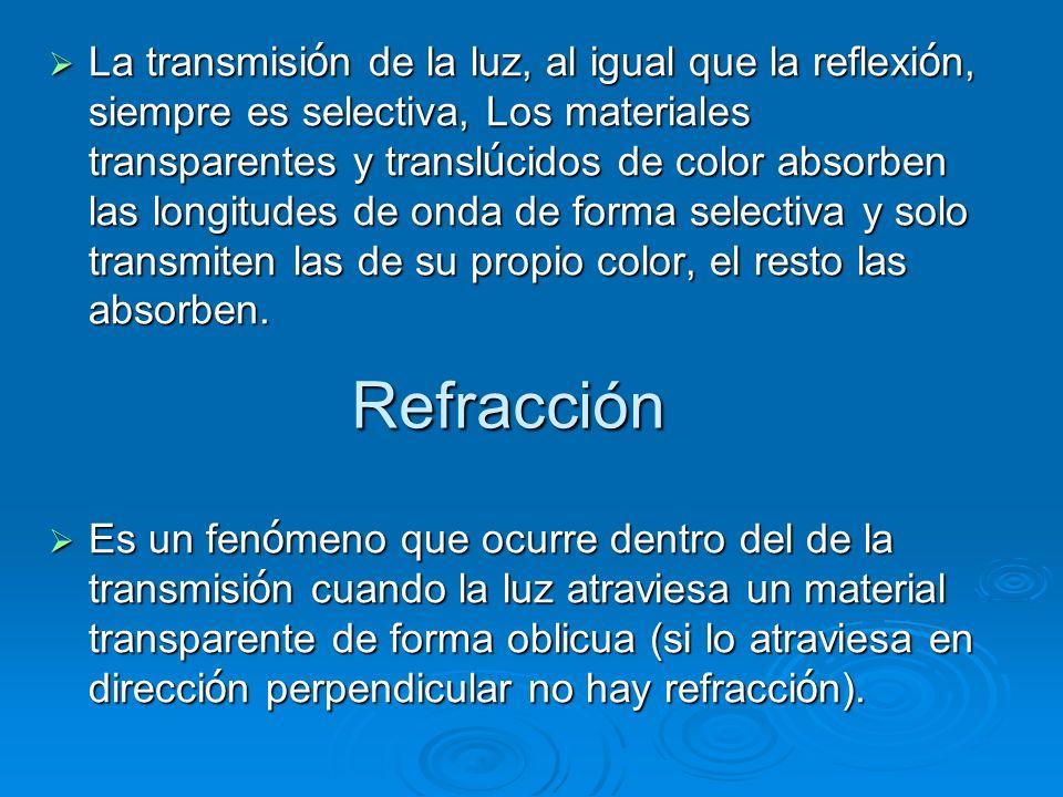 La transmisión de la luz, al igual que la reflexión, siempre es selectiva, Los materiales transparentes y translúcidos de color absorben las longitudes de onda de forma selectiva y solo transmiten las de su propio color, el resto las absorben.