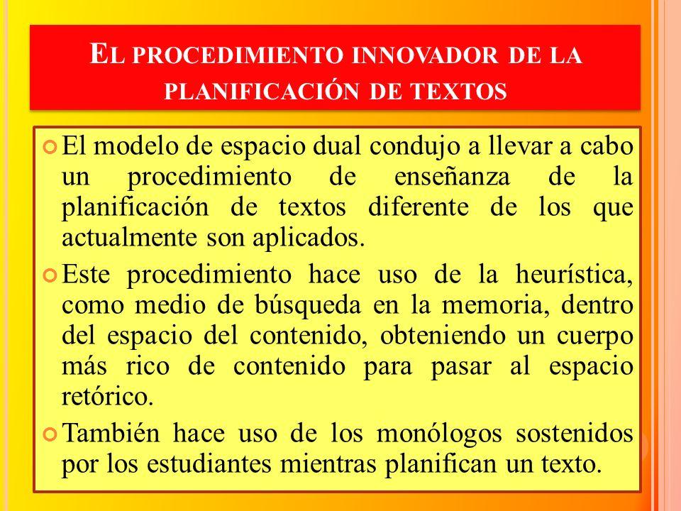 El procedimiento innovador de la planificación de textos