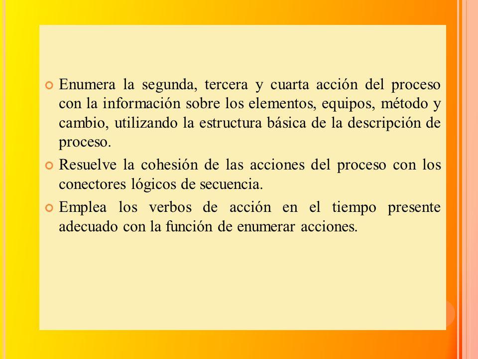 Enumera la segunda, tercera y cuarta acción del proceso con la información sobre los elementos, equipos, método y cambio, utilizando la estructura básica de la descripción de proceso.