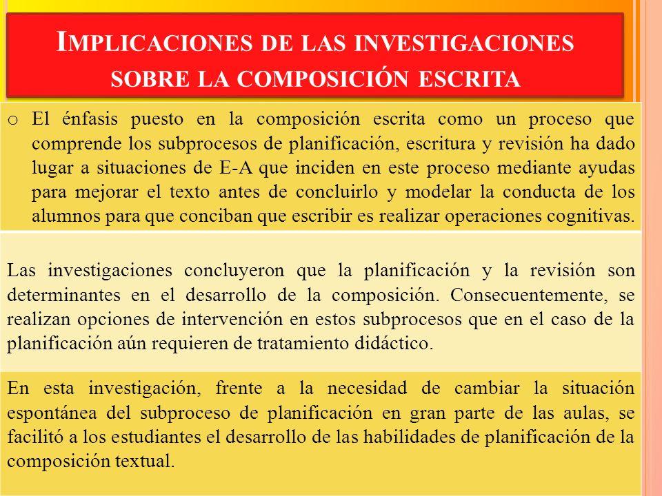 Implicaciones de las investigaciones sobre la composición escrita