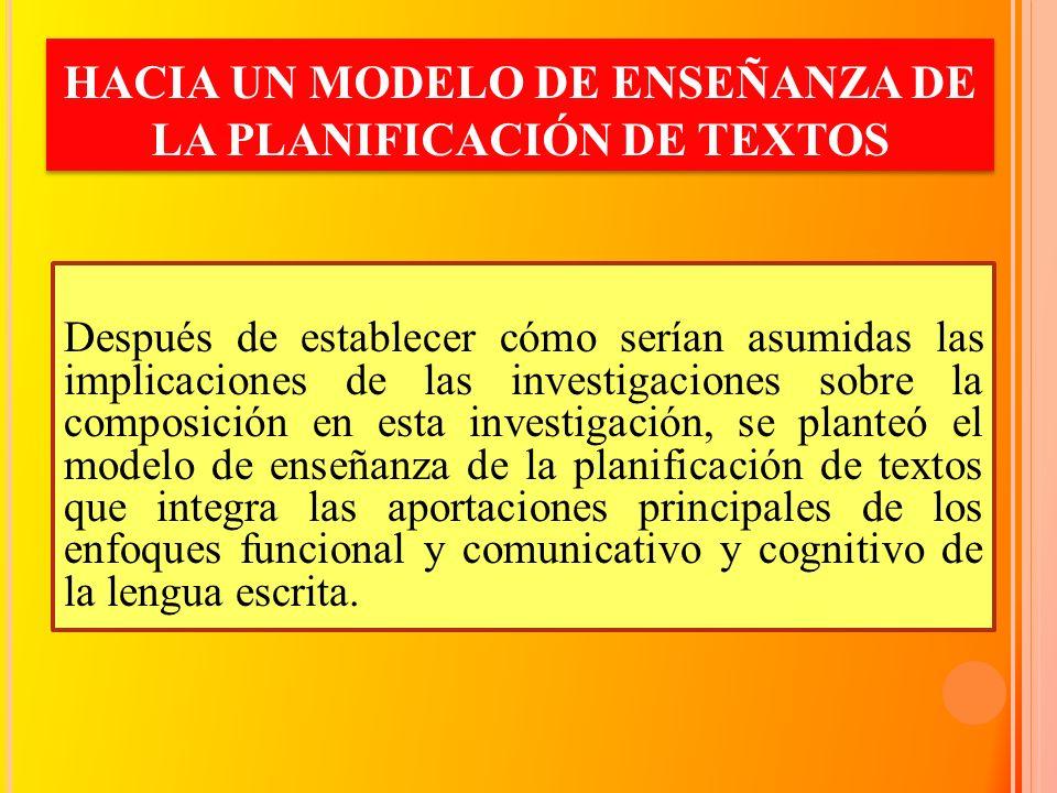 HACIA UN MODELO DE ENSEÑANZA DE LA PLANIFICACIÓN DE TEXTOS