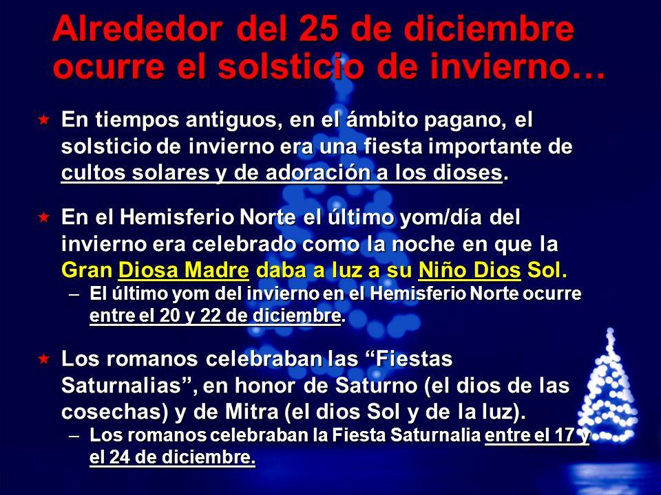 Alrededor del 25 de diciembre ocurre el solsticio de invierno…