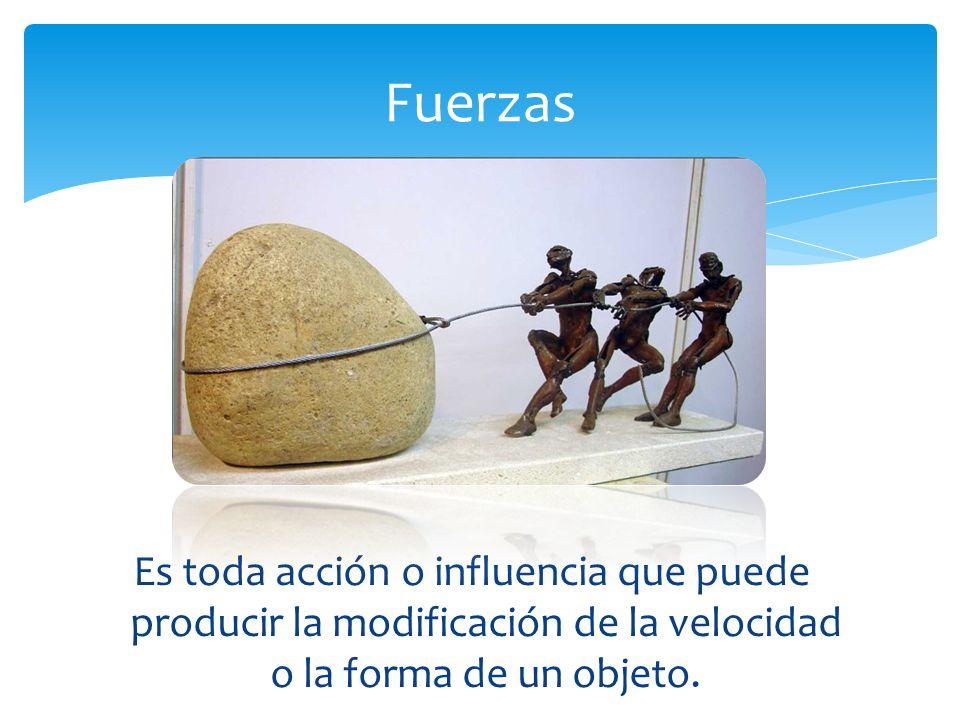 Fuerzas Es toda acción o influencia que puede producir la modificación de la velocidad o la forma de un objeto.