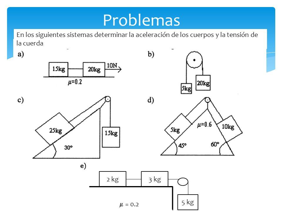 Problemas En los siguientes sistemas determinar la aceleración de los cuerpos y la tensión de la cuerda.