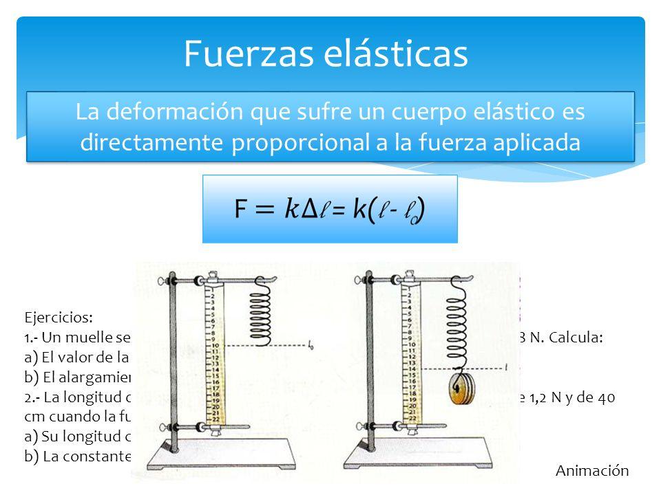 Fuerzas elásticas La deformación que sufre un cuerpo elástico es directamente proporcional a la fuerza aplicada.