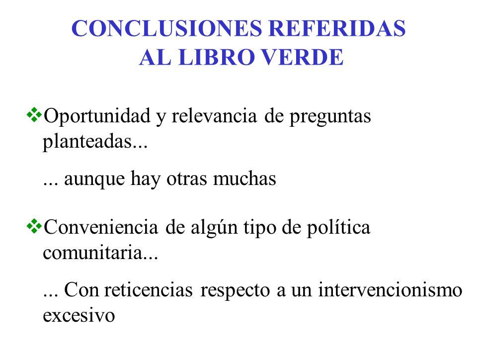 CONCLUSIONES REFERIDAS AL LIBRO VERDE