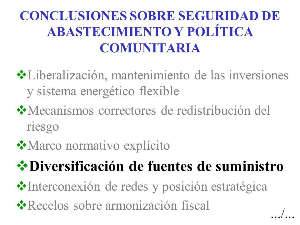 CONCLUSIONES SOBRE SEGURIDAD DE ABASTECIMIENTO Y POLÍTICA COMUNITARIA