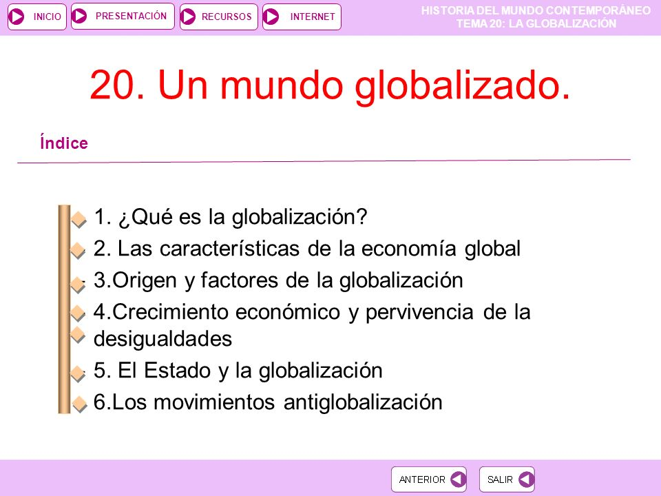 20. Un mundo globalizado. 1. ¿Qué es la globalización