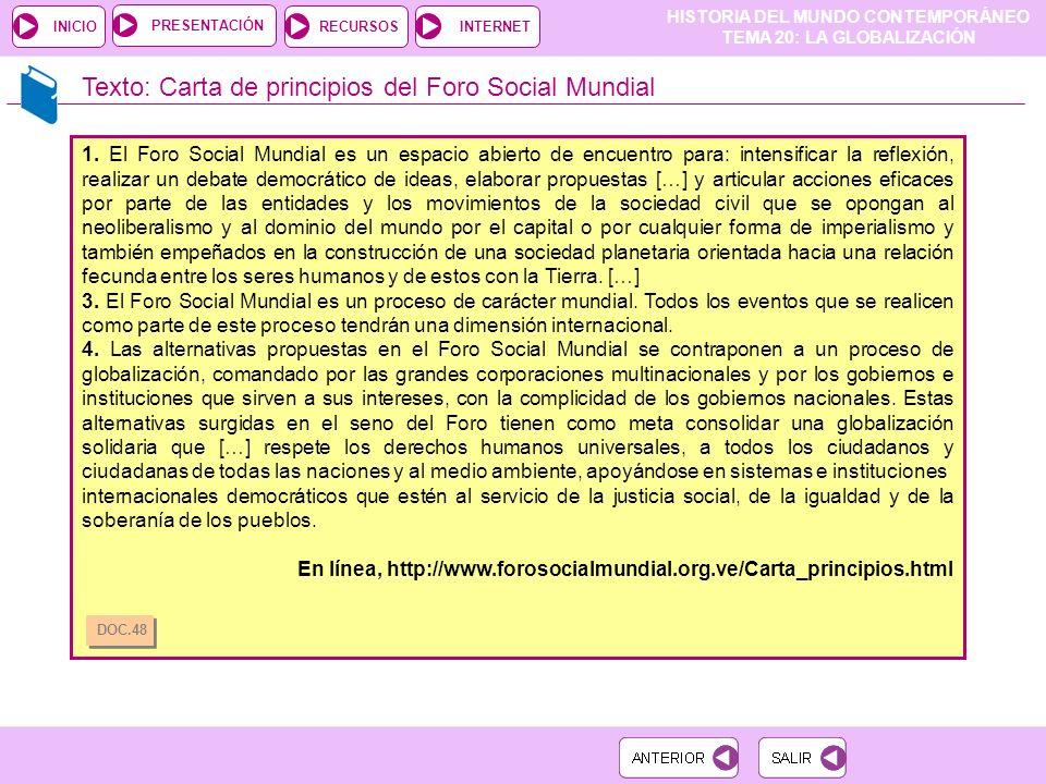 Texto: Carta de principios del Foro Social Mundial