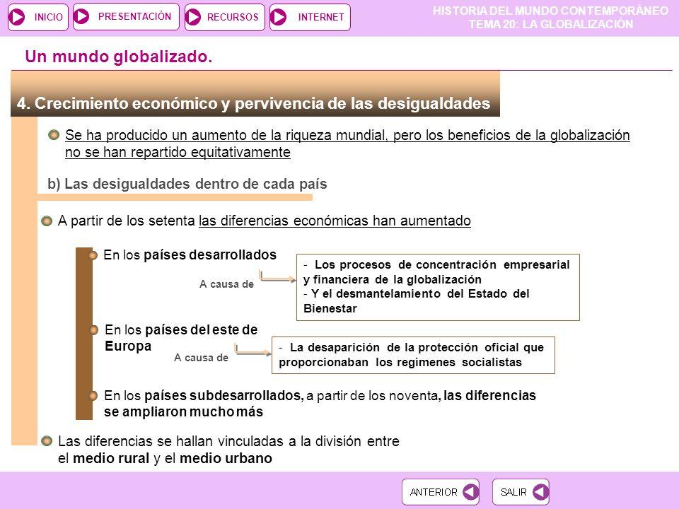 Un mundo globalizado. 4. Crecimiento económico y pervivencia de las desigualdades.