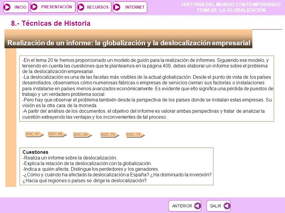 8.- Técnicas de Historia Realización de un informe: la globalización y la deslocalización empresarial.