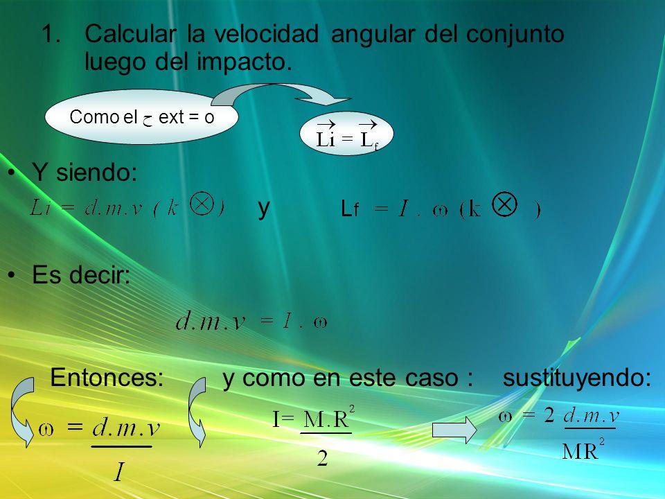 Calcular la velocidad angular del conjunto luego del impacto.