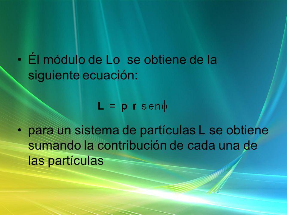 Él módulo de Lo se obtiene de la siguiente ecuación: