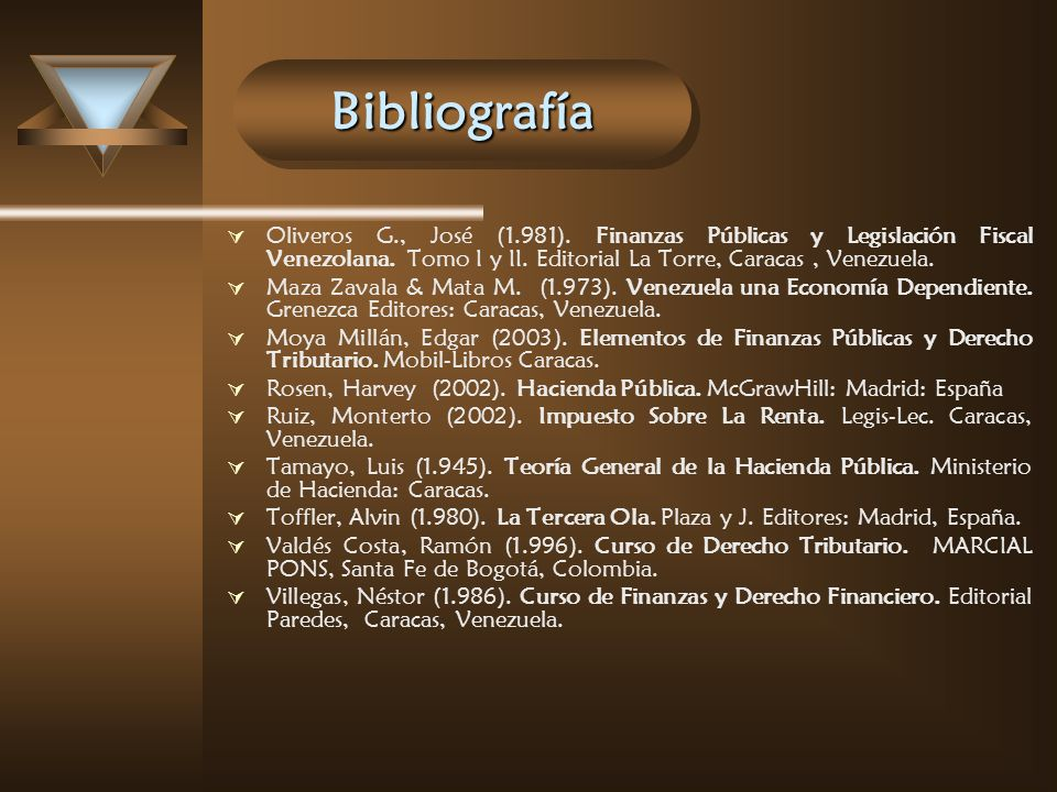 Bibliografía Oliveros G., José (1.981). Finanzas Públicas y Legislación Fiscal Venezolana. Tomo I y II. Editorial La Torre, Caracas , Venezuela.