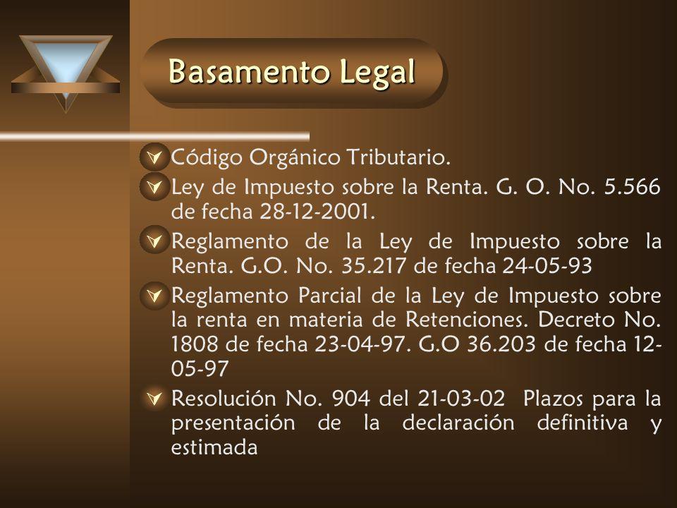 Basamento Legal Código Orgánico Tributario.