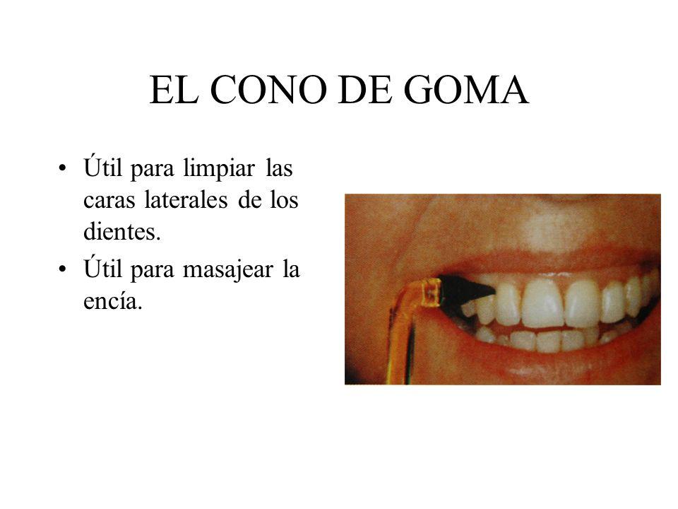 EL CONO DE GOMA Útil para limpiar las caras laterales de los dientes.