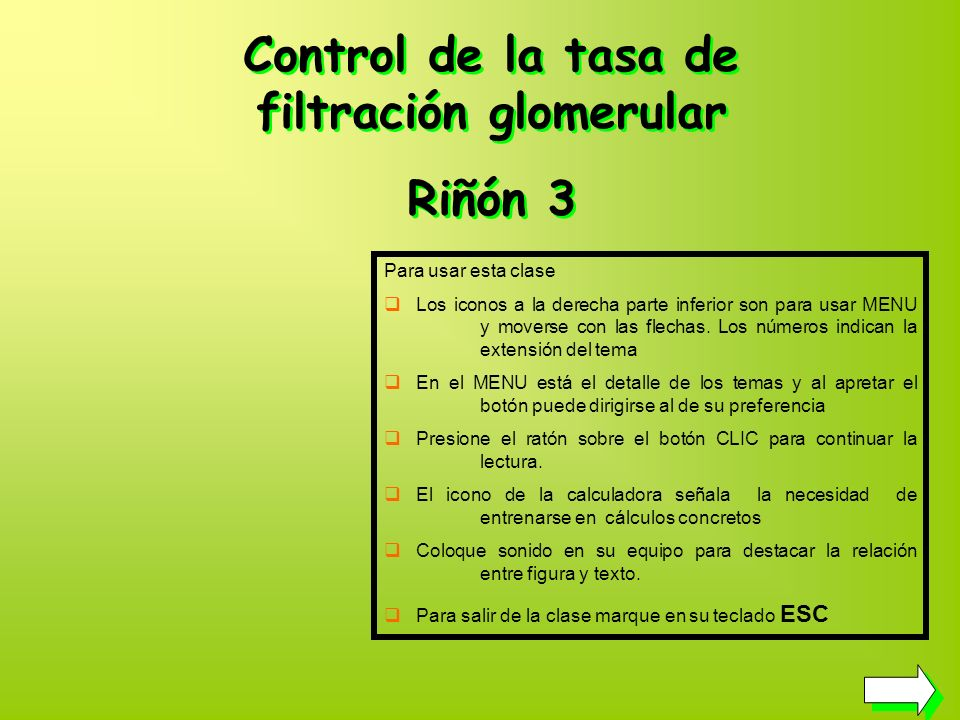 Control de la tasa de filtración glomerular
