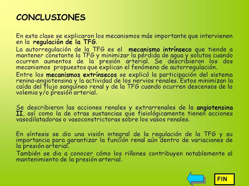 CONCLUSIONES En esta clase se explicaron los mecanismos más importante que intervienen en la regulación de la TFG.