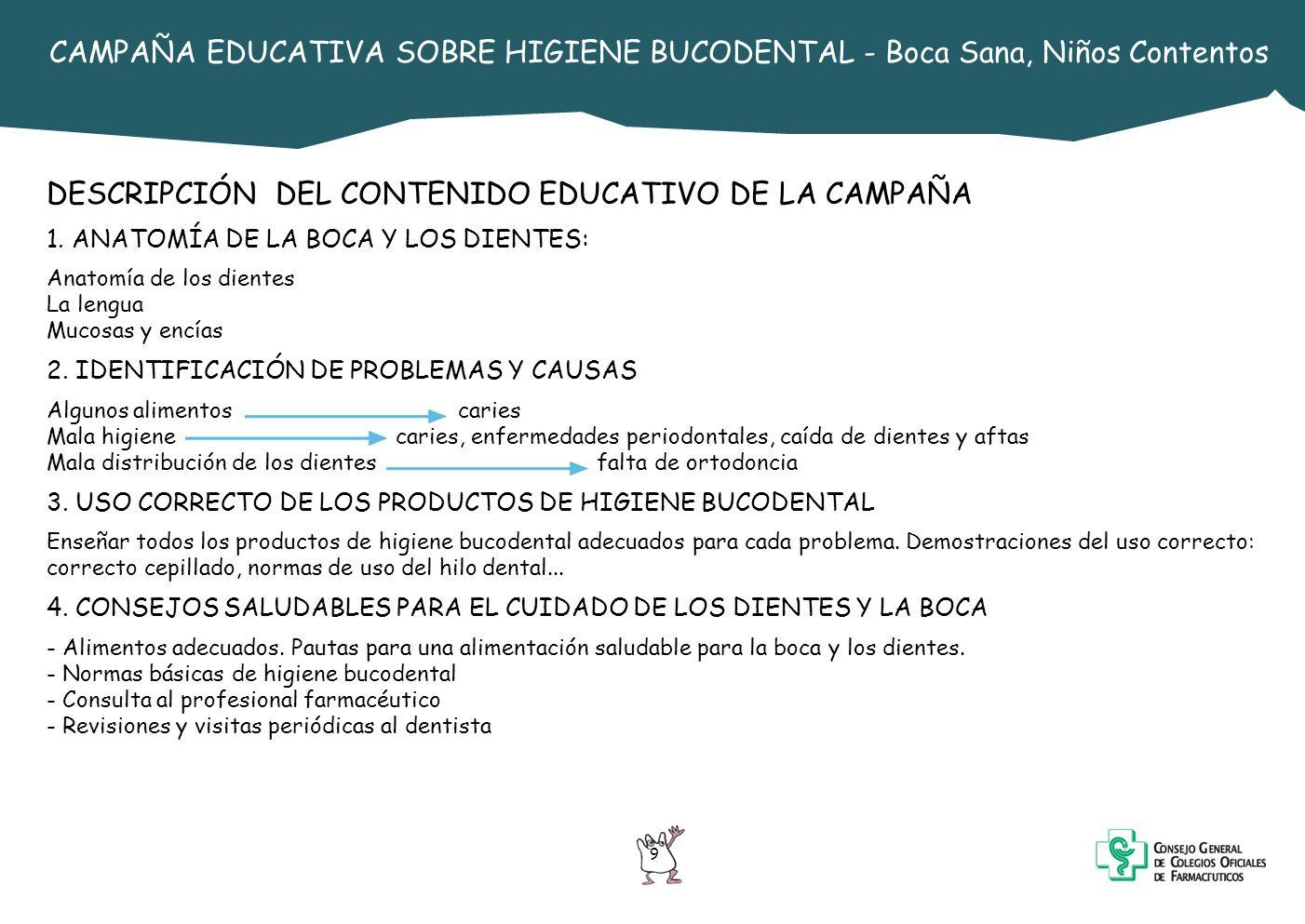 DESCRIPCIÓN DEL CONTENIDO EDUCATIVO DE LA CAMPAÑA