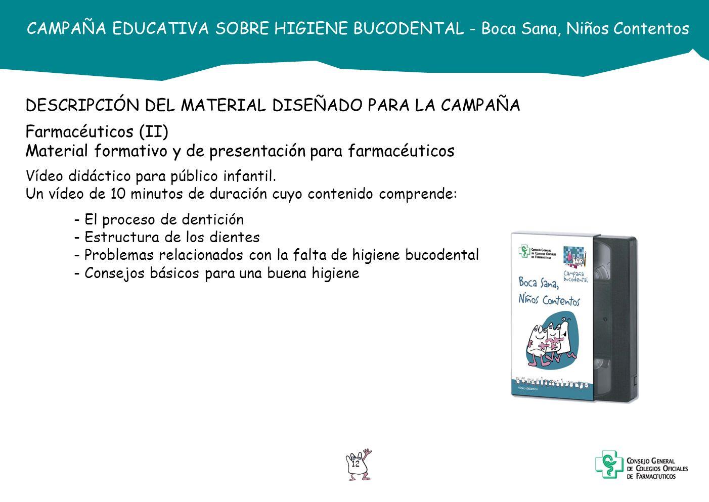 DESCRIPCIÓN DEL MATERIAL DISEÑADO PARA LA CAMPAÑA Farmacéuticos (II)