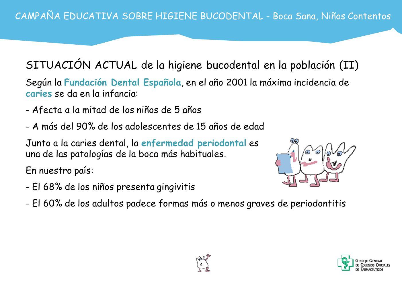 SITUACIÓN ACTUAL de la higiene bucodental en la población (II)