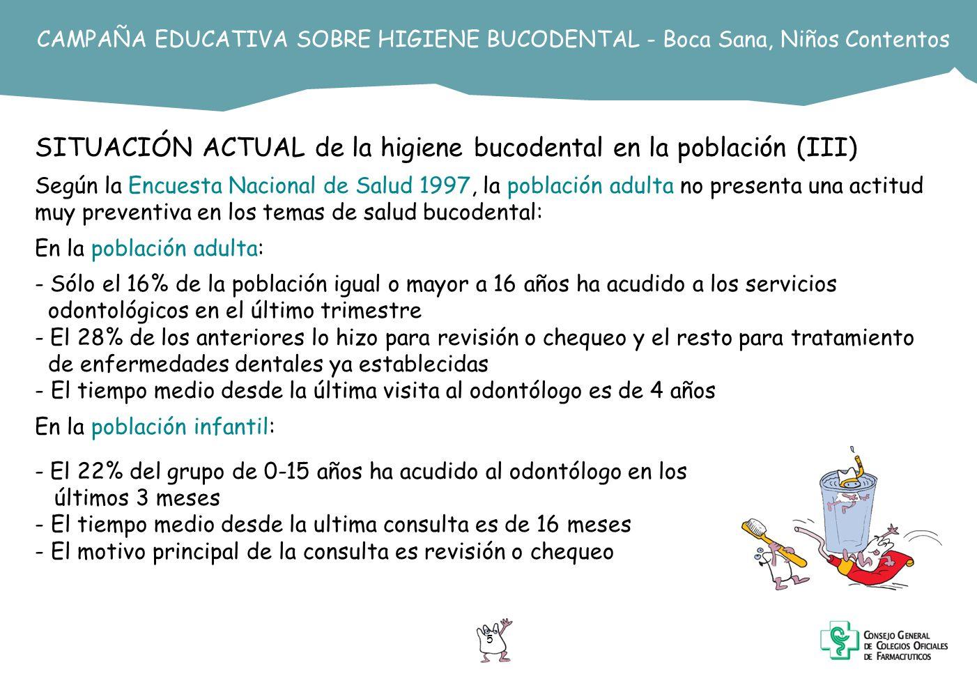 SITUACIÓN ACTUAL de la higiene bucodental en la población (III)