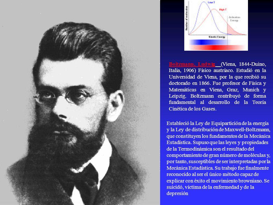 Boltzmann, Ludwig (Viena, 1844-Duino, Italia, 1906) Físico austríaco