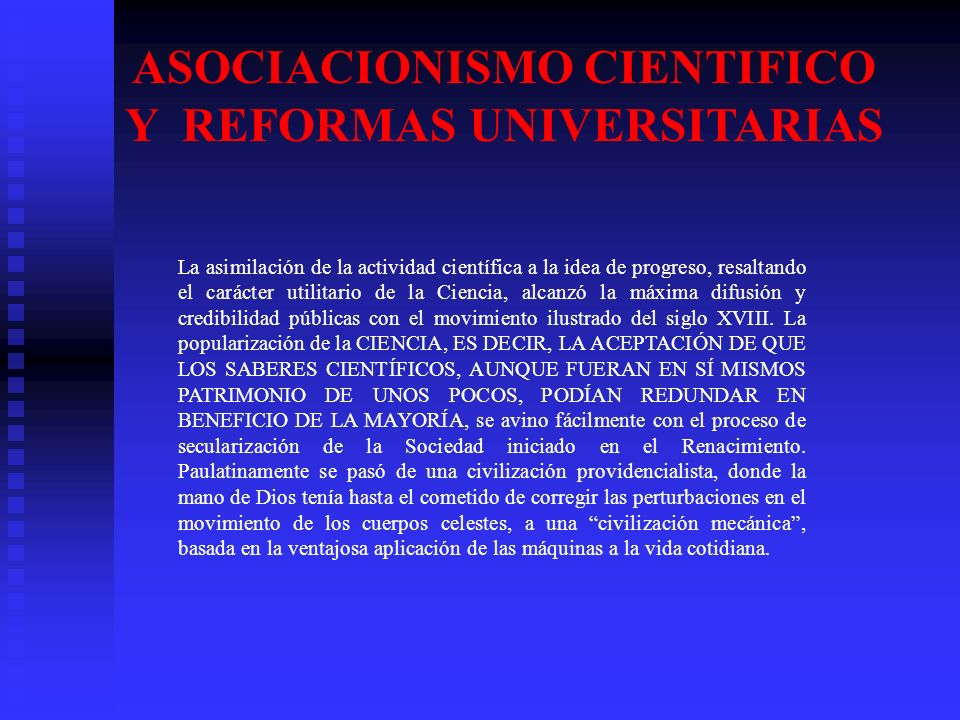 ASOCIACIONISMO CIENTIFICO Y REFORMAS UNIVERSITARIAS