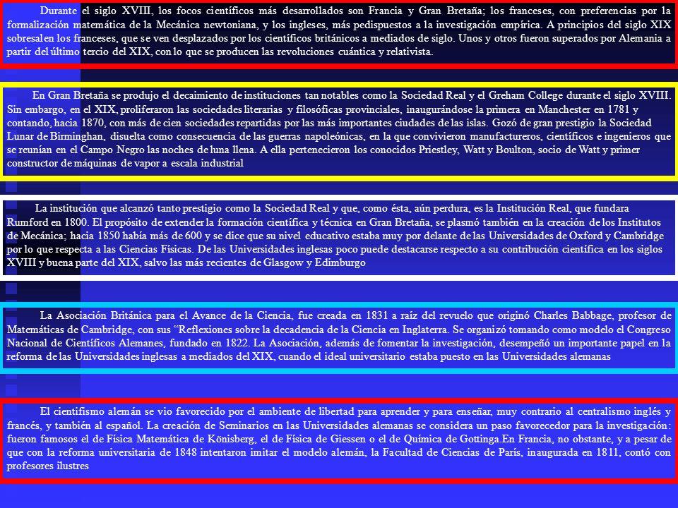 Durante el siglo XVIII, los focos científicos más desarrollados son Francia y Gran Bretaña; los franceses, con preferencias por la formalización matemática de la Mecánica newtoniana, y los ingleses, más pedispuestos a la investigación empírica. A principios del siglo XIX sobresalen los franceses, que se ven desplazados por los científicos británicos a mediados de siglo. Unos y otros fueron superados por Alemania a partir del último tercio del XIX, con lo que se producen las revoluciones cuántica y relativista.