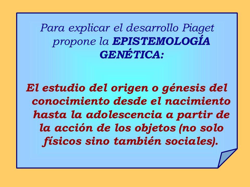 Para explicar el desarrollo Piaget propone la EPISTEMOLOGÍA GENÉTICA:
