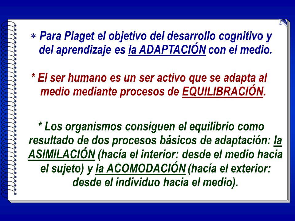 Para Piaget el objetivo del desarrollo cognitivo y del aprendizaje es la ADAPTACIÓN con el medio.