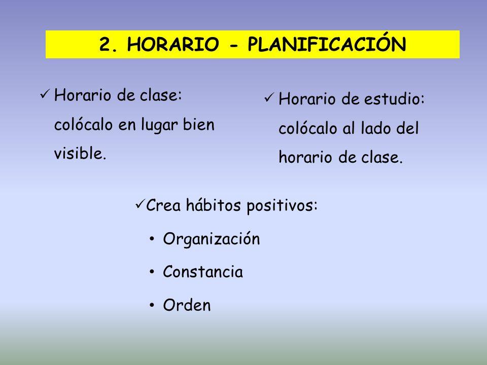 2. HORARIO - PLANIFICACIÓN